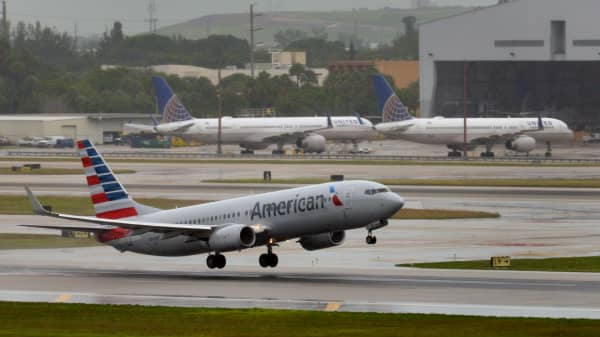 An American Airlines 737 jet takes off from Miami International Airport in Florida.