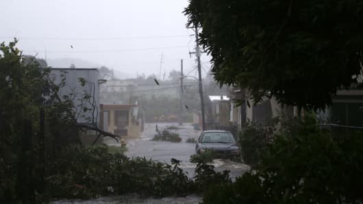 Street scene in Fajardo, Puerto Rico, as Hurricane Irma hits, Sept. 6, 2017.
