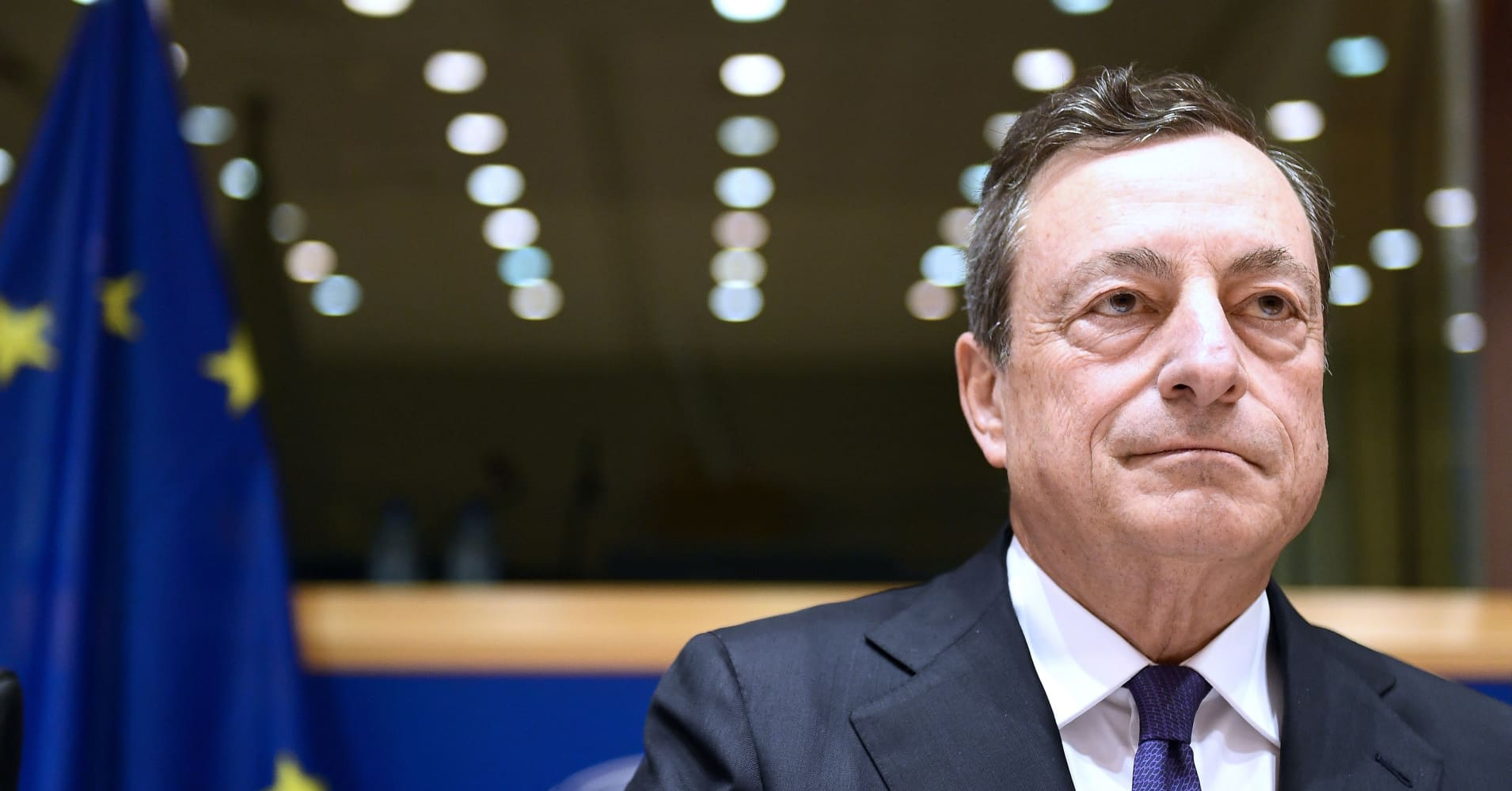 ECB's Draghi talks policy after the central bank drops its easing bias