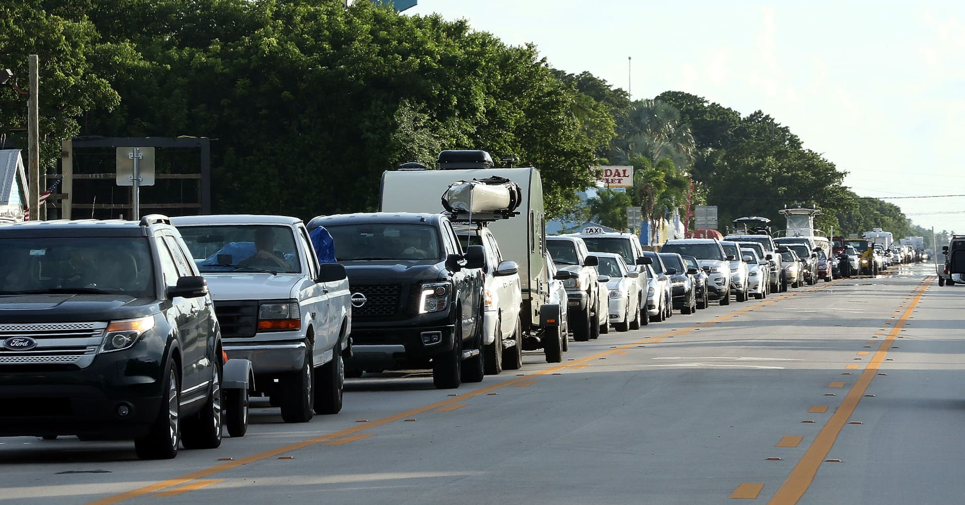 Cars sit in traffic as they evacuate heading North on Overseas Highway in the Florida Keys on Septeber 5, 2017 in Islamorada, Florida.
