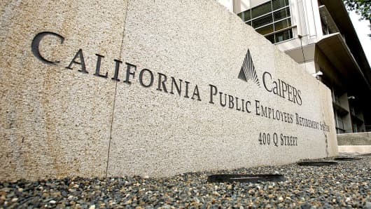 Signage outside the offices of the California Public Employees' Retirement System (Calpers) in Sacramento, California.