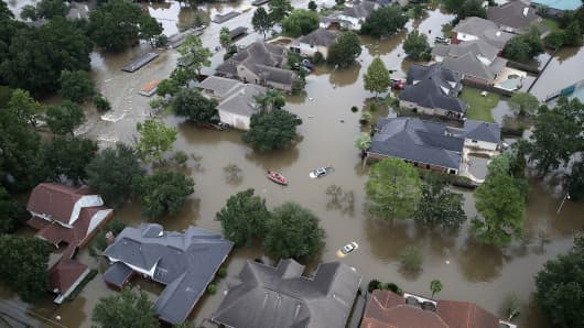 Flooded homes are shown near Lake Houston following Hurricane Harvey on August 30, 2017, in Houston.