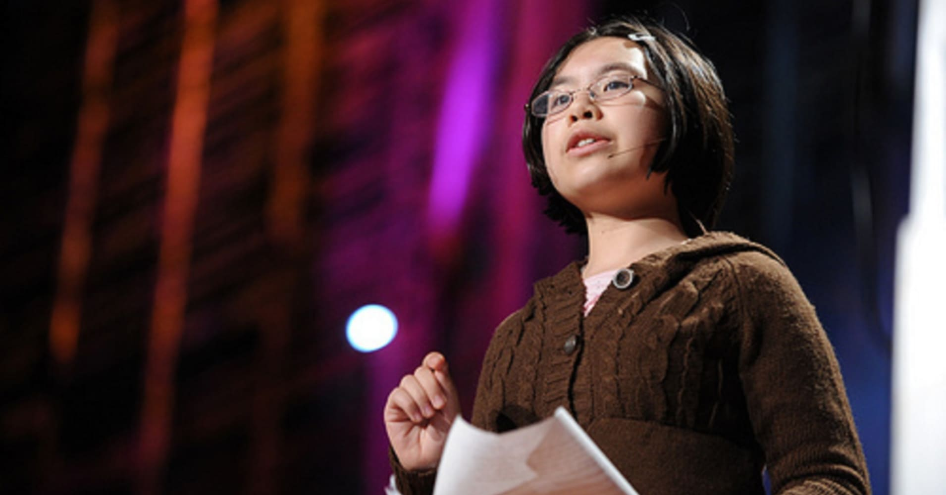 Adora Svitak at age 12 on the TED stage