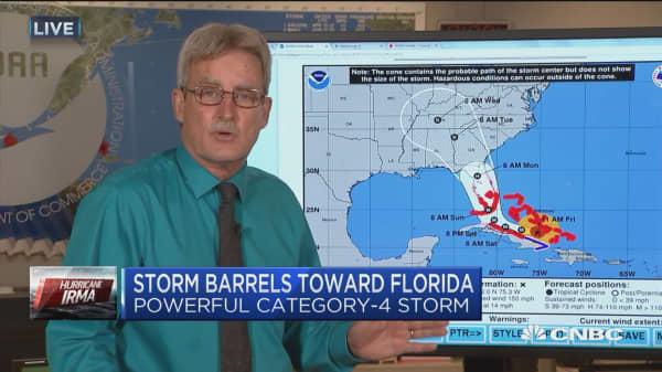 Powerful Category 4 Hurricane Irma barrels toward Florida