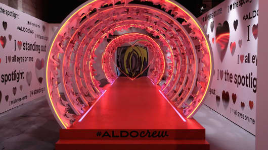The Love Walk exhibit at the 2017 29Rooms event in Brooklyn was sponsored by Aldo.