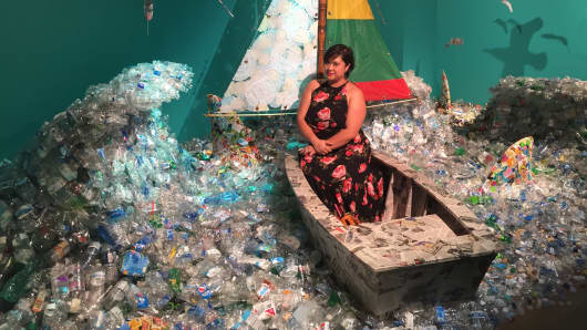 A sea of trash collected from around New York City is presented in the nonsponsored Ocean of Creativity room at the 2017 29Rooms event in Brooklyn.
