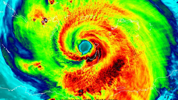An infrared image of Hurricane Irma from NASA. Red is the hottest temperature and purple is the coldest.