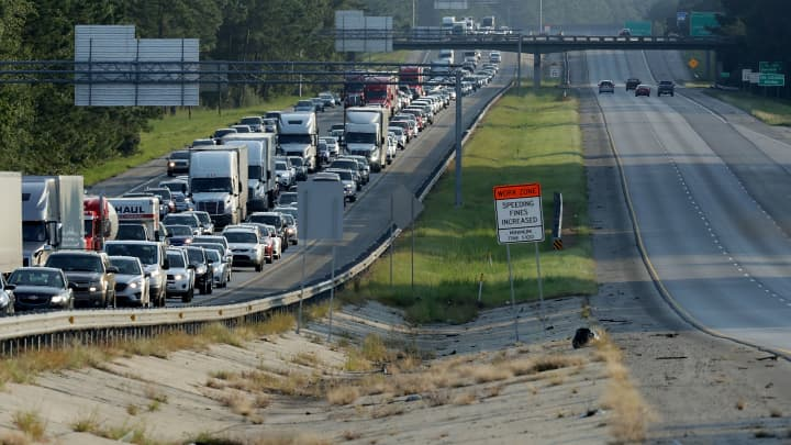 Southbound lanes of I-95 near the Georgia-South Carolina border are empty as northbound lanes are packed as pepole evacuate ahead of the arrival of Hurricane Irma September 8, 2017 in Savannah, Georgia.