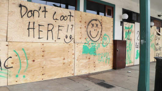 Hurricane Irma inspires messages on plywood used to protect windows as Hurricane Irma approaches Fort Lauderdale, Fla.