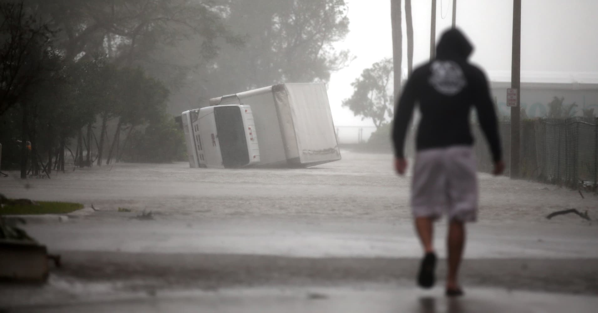 A truck is seen turned over as Hurricane Irma passes south Florida, in Miami, U.S. September 10, 2017.