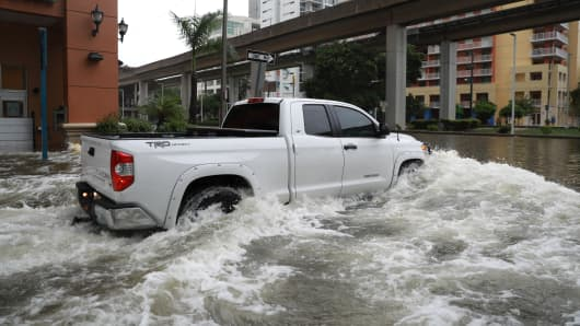 Flooding in the Brickell neighborhood as Hurricane Irma passes Miami, Florida, U.S. September 10, 2017.