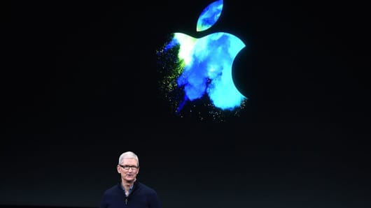 Apple CEO Tim Cook speaks during a product launch event at Apple headquarters in Cupertino, California on October 27, 2016.