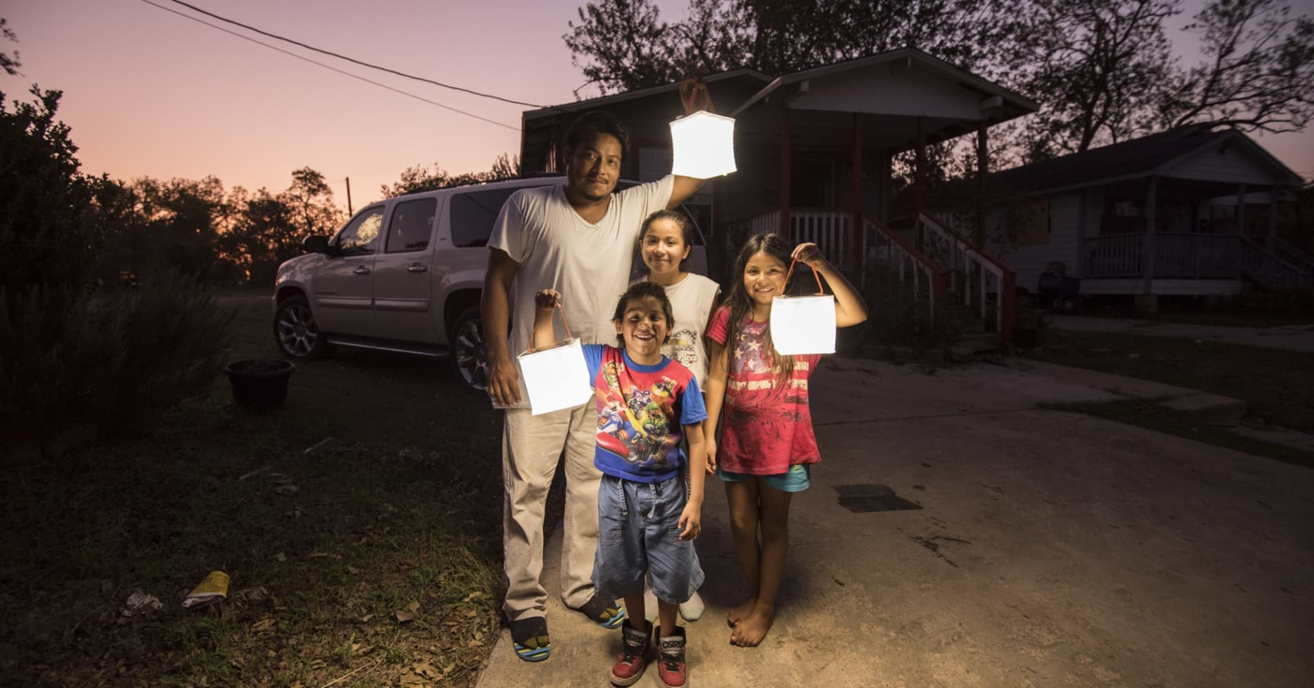 This family in Victoria, Texas was flooded and without electricity after Hurricane Harvey. LuminAID's nonprofit partner Convoy of Hope assisted them and provided them with waterproof LuminAID lights.