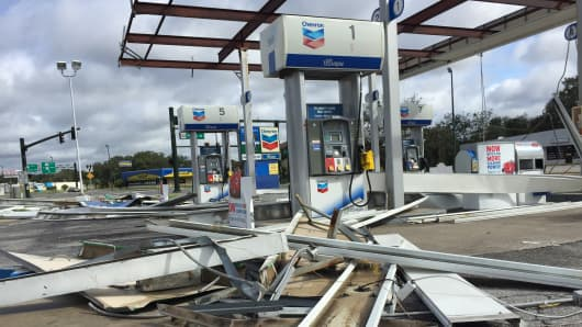 Hurricane Irma damaged this Chevron gas station on the corner of U.S. Highway 441 and Perkins Street in Leesburg, Fla. on Monday, Sept. 11, 2017.