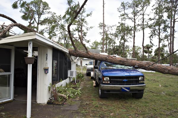A downed tree lays on top of a truck outside a trailer at the Camp Inn RV Park in Frostproof, Florida, U.S., on Monday, Sept. 11, 2017.