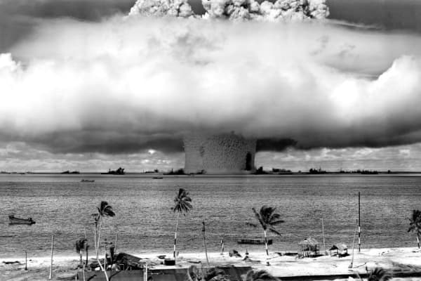 The United States detonating an atomic bomb underwater in 1946.