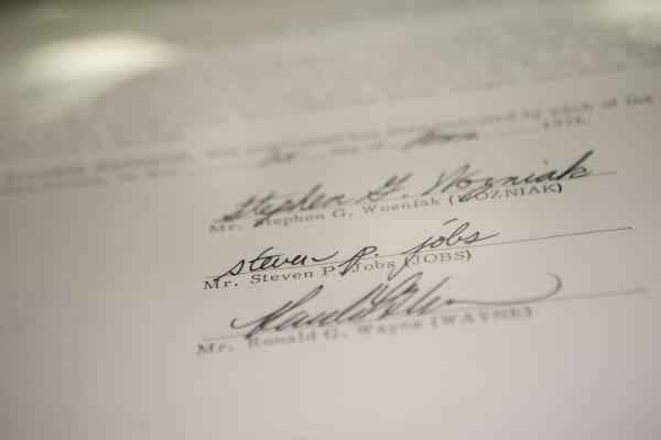 The Apple Inc. founding partnership agreement signed by Steve Wozniak, Steve Jobs and Ronald Wayne from 1976.