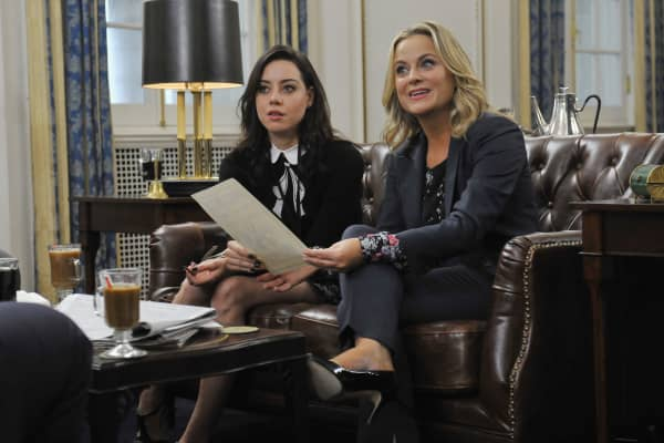 "Aubrey Plaza as April Ludgate and Amy Poehler as Leslie Knope in NBC's ""Parks and Recreation."""