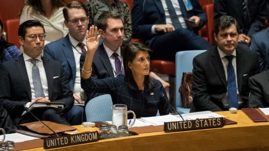 Nikki Haley, U.S. ambassador to the UN, votes yes to new sanctions on North Korea at a UN Security Council meeting at UN headquarters, September 11, 2017.