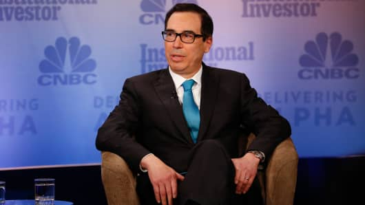 Treasury Secretary Steve Mnuchin speaking at the 2017 Delivering Alpha conference in New York on Sept. 12, 2017.