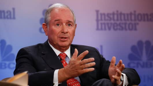 Steve Schwarzman speaking at the 2017 Delivering Alpha conference in New York on Sept. 12, 2017.