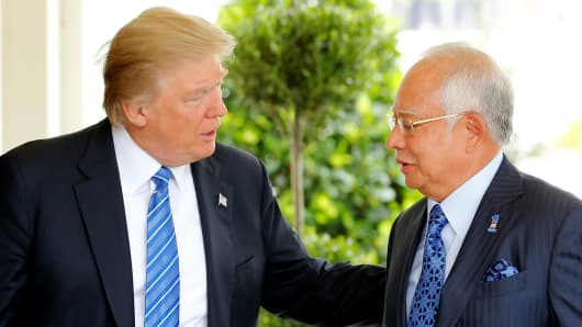 President Donald Trump welcomes Malaysia's Prime Minister Najib Razak to the White House in Washington, September 12, 2017.