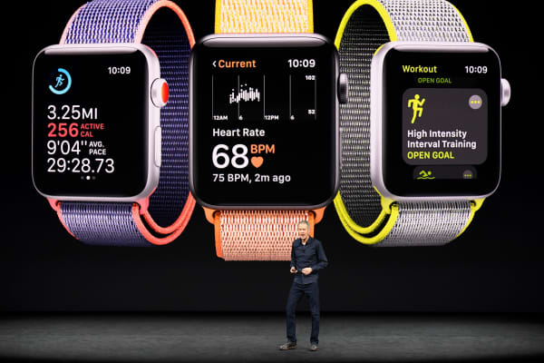 Jeff Williams, chief operating officer of Apple speaks about Apple Watch during an event at the Steve Jobs Theater in Cupertino, California, on Tuesday, Sept. 12, 2017.
