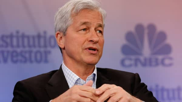 Jamie Dimon, CEO of JP Morgan Chase, speaking at the 2017 Delivering Alpha conference in New York on Sept. 12, 2017.