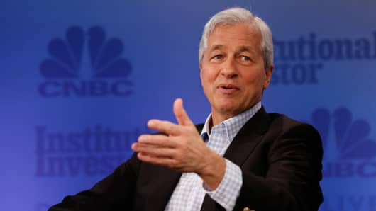 Jamie Dimon speaking at the 2017 Delivering Alpha conference in New York on Sept. 12, 2017.