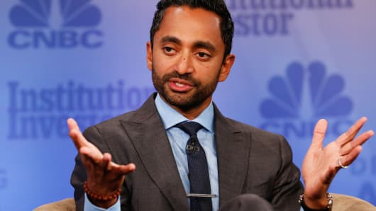 Chamath Palihapitiya speaking at the 2017 Delivering Alpha conference in New York on Sept. 12, 2017.