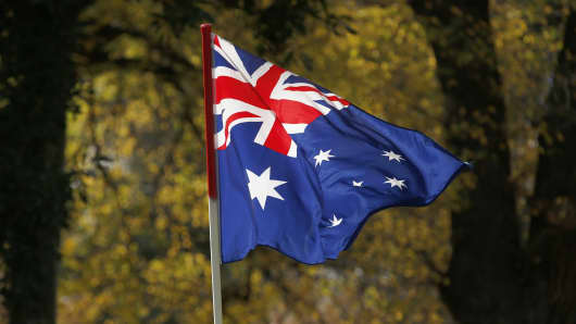The Australian Flag is seen on June 25, 2017 in Melbourne, Australia.
