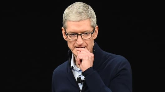 Apple CEO Tim Cook speaks during a media event at Apple's new headquarters where Apple is expected to announce a new iPhone and other products in Cupertino, California on September 12, 2017.