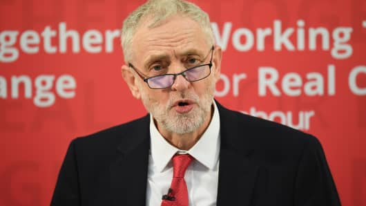 Labour Leader Jeremy Corbyn speaks about Labour's plan for Brexit on January 10, 2017 in Peterborough, England.