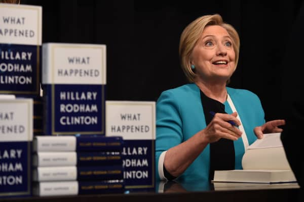 Hillary Clinton kicks off her book tour of her memoir of the 2016 presidential campaign titled 'What Happened' with a signing at the Barnes & Noble in Union Square on September 12, 2017, in New York.