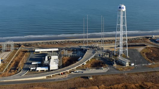 A launchpad at the Mid-Atlantic Regional Spaceport.