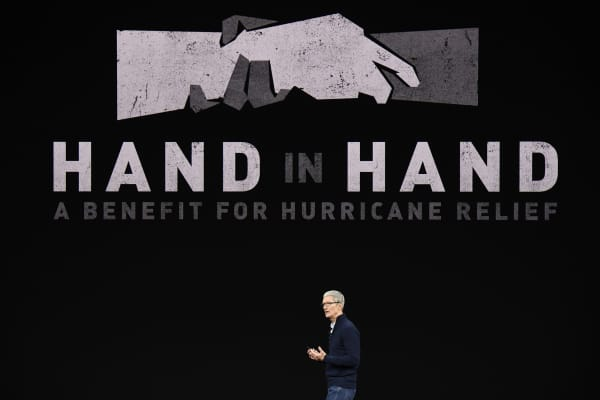 Apple CEO Tim Cook speaks during an event at the Steve Jobs Theater in Cupertino, California, U.S., on Tuesday, Sept. 12, 2017.
