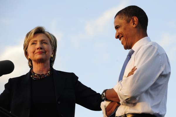 US Democratic presidential candidate Illinois Senator Barack Obama and New York Senator Hillary Clinton address supporters in Orlando, Florida, October 20, 2008.