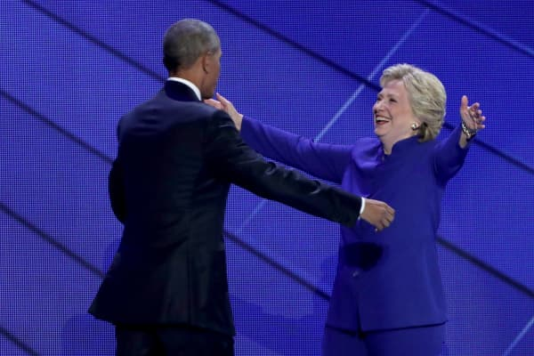 Democratic presidential candidate Hillary Clinton with former US president Barack Obama at the 2016 Democratic National Convention.