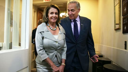 U.S. House Minority Leader Rep. Nancy Pelosi (D-CA) and Sen. Charles Schumer (D-NY)