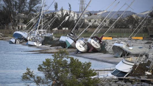 Damaged sail boats are shown in the aftermath of Hurricane Irma on September 11, 2017 in Key West, Florida.