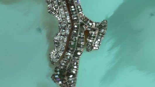 Satellite imagery of Bay Drive just east of Key West, Florida, after being struck by Hurricane Irma.