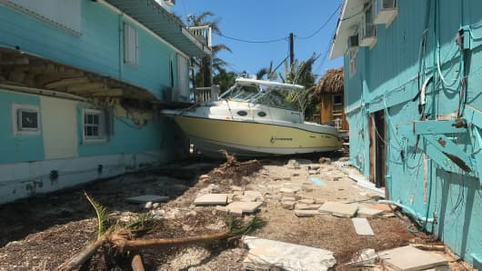 A boat washed ashore in Key Largo after the region was hit by Hurricane Irma.
