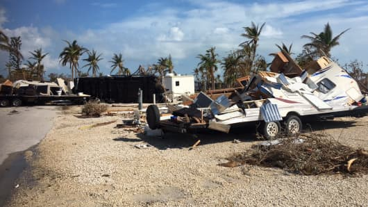 A destroyed trailer in Key Largo, Fla., after Hurricane Irma swept through the area.