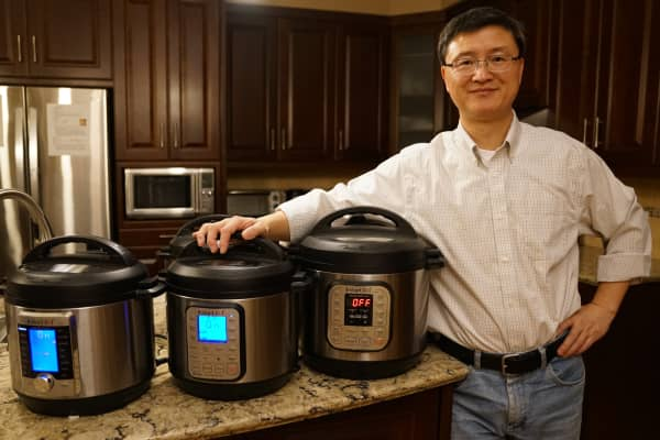Founder Robert Wang at home with his three Instant Pots.