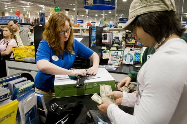 A shopper makes a purchase at a Best Buy store in Corpus Christi, Texas.