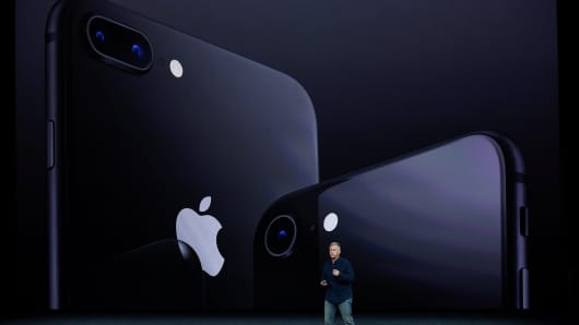 Apple senior vice president of worldwide marketing Phil Schiller makes speech during the Apple launch event on September 12, 2017 in Cupertino,California. Apple Inc. unveiled its new iPhone 8, iPhone X, iPhone 8 Plus, and the Apple Watch Series 3 at the new Apple Park campus.