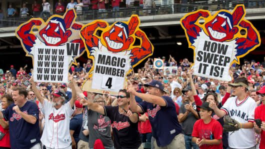 Indians fans celebrate following the Major League Baseball game between the Detroit Tigers and Cleveland Indians on September 13, 2017, at Progressive Field in Cleveland, OH. Cleveland defeated Detroit 5-3 to win their American League record 21st straight game.