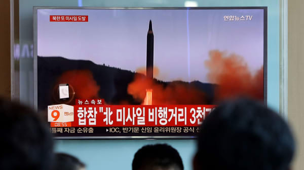 A television broadcast of the North Korean missile launch at the Seoul Railway Station on September 15, 2017, in Seoul, South Korea.
