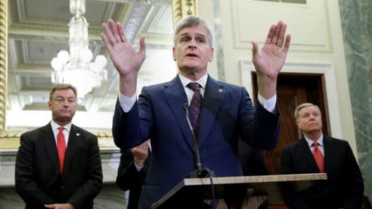 "Senator Bill Cassidy, MD (R-LA) speaks at a news conference on ""the Graham-Cassidy-Heller-Johnson proposal to reform healthcare"" on Capitol Hill in Washington, September 13, 2017."