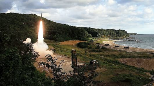 In this handout photo released by the South Korean Defense Ministry, South Korea's missile system firing Hyunmoo-2 firing a missile into the East Sea during a drill aimed to counter North Korea's missile fires on September 15, 2017 in East Coast, South Korea.